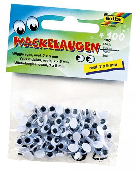 Wackelaugen oval 7 x 5mm 100 Stück