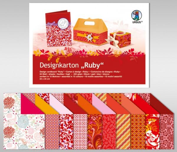 "Designkarton-Block ""Ruby"" 200g/m²"