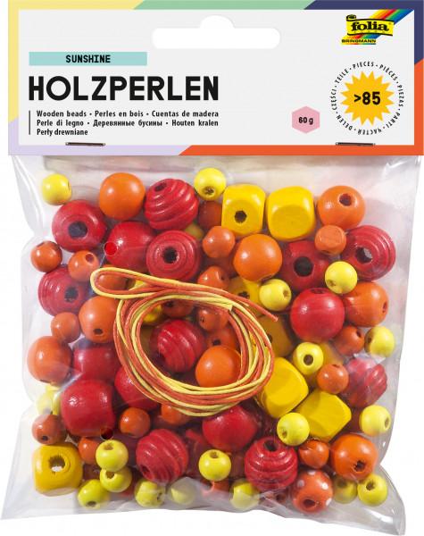 Holzperlen gelb/rot 60g