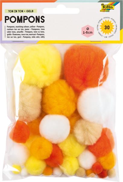 Pompons, 30 Stück, Größen sortiert