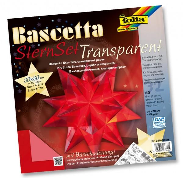 "1 Set grün//rot 15x15cm Folia Bascetta Stern /""Duo-Papier/"" 32-teilig"
