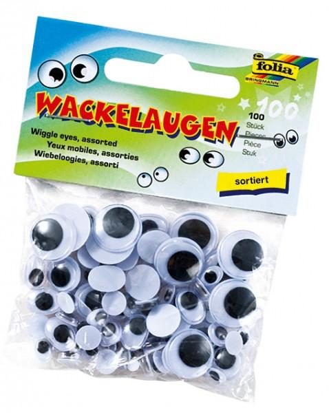 Wackelaugen Sortiment, 100 Stück
