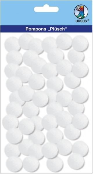 Pompons einfarbig weiß, 50 Stück